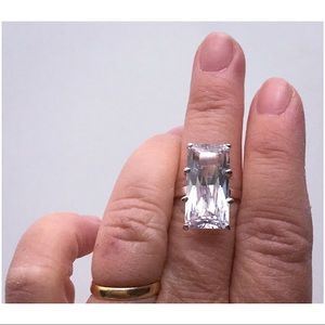 Nordstrom Ring 9 Clear CZ Rectangle Cut SilverTone